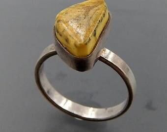 Vintage Poland signed sterling silver egg yolk Baltic amber modernist ring size (7.5) SKU 5521