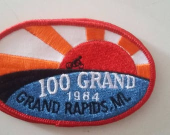 1984 100 Grand Bicycle Touring Event Grand Rapids Michigan Vintage Embroidered Sew On Patch
