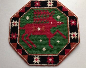 Reindeer - Vintage Swedish Wall Hanging / Handembroidery / Tapestry