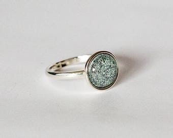 A beautiful single, multi-coloured enamel sterling silver ring. Completely handmade with a home kiln fired enamel