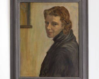 Oil portrait on canvas of a woman in a dark coat Vintage
