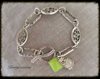 Curb links enamelled fancy silver square and OWL charms