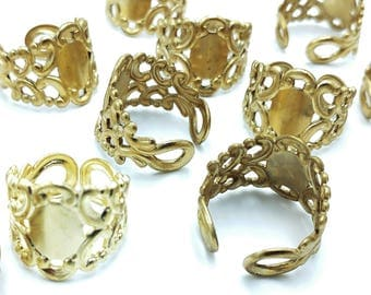 12pcs Raw Brass Adjustable Filigree Ring Bases with 12mm Pad