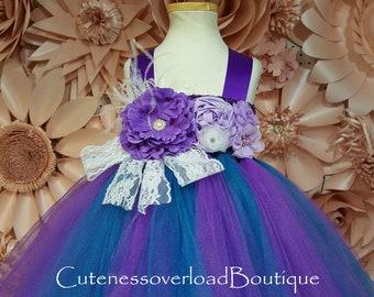 Teal and Purple Wedding Tutu Dress-Teal and Purple Wedding Bride Dress-Teal and Purple Tutu Dress-Teal and Purple Flower Girl Tutu Dress.