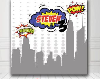 Birthday Backdrop - Baby Birthday Photo Backdrop - Super Hero Theme Backdrop - Digital/Vinyl Printed- FREE SHIPPING