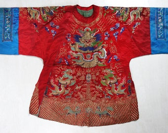 19th Century Heavily Embroidered Chinese Robe with Five-Clawed Dragons