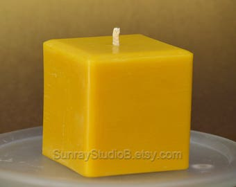 SQUARE BEESWAX CANDLE 3x3 inches, Pure Beeswax Candle, Non Scented Candle, Natural Honey Scent, Yellow Beeswax Candle, Orange Beeswax Candle