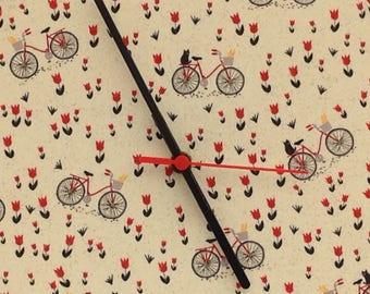 Fabric Clock, using Mon Ami fabric, bikes, tulips, amsterdam, cats, 12 inches / 30cm diameter,