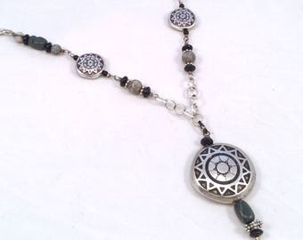 Gray, Black, and Silver Western Tyle Pendant