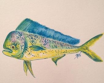 Mahi Watercolor Print