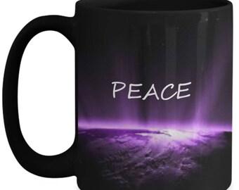 Black peaceful coffee mug with world
