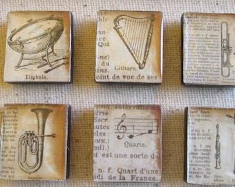 Vintage Musical Instrument 6 pc Magnet Set/ square wood base/ resin dome top/ super strong magnet/ memo board/ office décor