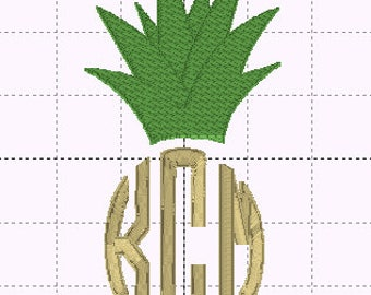 Pineapple Monogram Topper - Circle Monogram Design - INSTANT DOWNLOAD - Embroidery Design - Sizes 4x4, 5x7, 6x10