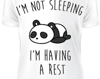 White T-shirt - i'm not sleeping i'm having a rest PANDA - B-WD-020