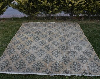 Rare Area Rug Free Shipping Turkish Wool Rug 6.1 x 6.7 feet Home Decor Aztec Rug Decorative Bohemian Rug Rustic Rug Floor Rug Boho Rug DC902