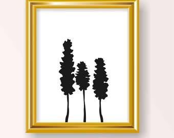 Three tree print Three black tree print Three silhouette tree print Three silhouette Trees print Black trees print Silhouette tree print