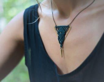 Hammered brass macrame necklace, handmade jewelry, macrame necklace