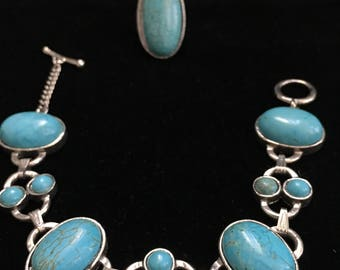 Treated Turquoise Bracelet Ring Set
