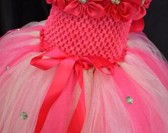 Toddler Flower Girl Tutu Dress, Pink and Light Green Flower Girl Dress