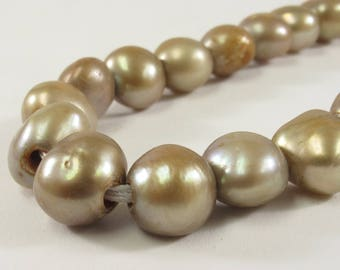10-12 mm Large Hole Taupe Freshwater Pearl Nugget Beads 2.1 mm Hole, Genuine Cultured Freshwater Pearl Nuggets, Neutral Beads (333-LHNT1012)