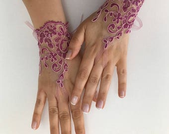 EXPRESS SHIPPING Wedding gloves Purple  bridal gloves lace gloves fingerless gloves french lace gloves