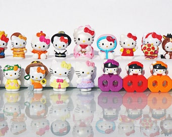 10 psc random Hello Kitty Mini figures toys party favor birthday cupcake toppers cartoon series holiday miniature surprise baby Figurine