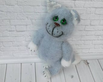 Knit Cat, Grey Cat,Knitted Toy, Knitted Kitten, Soft  Stuffed Toys,Animals Knitted Toys,Baby Shower Gift,Kids Gift,Amigurumi Doll,Toy Cat
