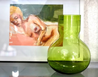 Vintage Green Glass Art Deco Vase