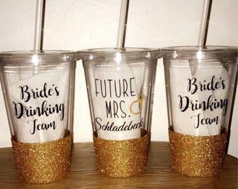 Handmade Bride or Bridesmaids Glittered Tumbler Cups