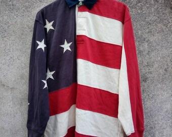 Vintage Rare! 90s TOMMY HILFIGER Rugby Big Logo American Flag