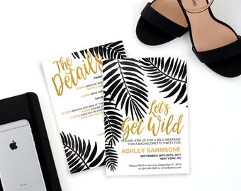 Modern Leaves Bachelorette Invitation, black and white, gold Bachelorette Invitation, Bachelorette Party, Weekend party, Hens Night