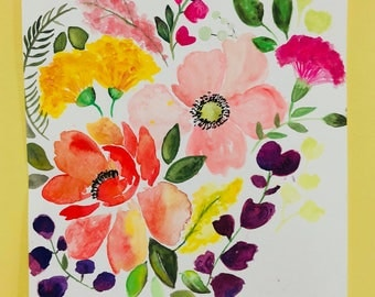Watercolor painting, flower painting