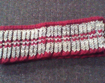 Gray and red striped hand knit ear warmer headband acrylic/ gifts for her/ autumn gifts/ fall gifts / lounge wear / outdoor clothing