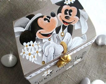 "Treasure chest ring bearer ""Minnie & Mickey"""