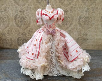 Miniature dollhouse Queen of Hearts gown, 1:12 scale