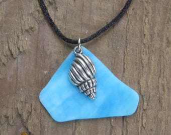 Light Blue Tumbled Glass Necklace