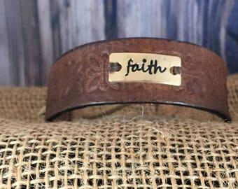 "Genuine Leather ""Faith"" Bracelet"