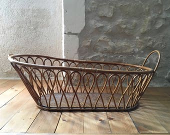 Wicker baby carriage pram France vintage antique wicker