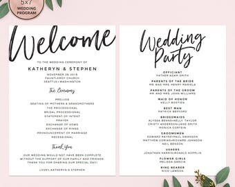 Elegant Calligraphy Wedding Programs Template Download, Printable Wedding Program, A4 & US Letter Wedding Programs PDF Instant Download.
