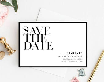 Printable Save The Date, Modern Save The Date Printable Template, Minimalist Wedding Save The Date Printable PDF Template Instant Download