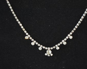 Necklace 15 Inch Rhinestone Silver Tone Chain with Larger Rhinestone Accents