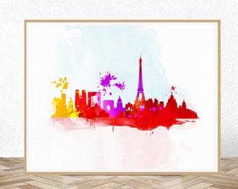 Paris skyline, paris skyline print, paris skyline decor, paris skyline wall art, paris silhouette, paris sklyline picture, paris art print