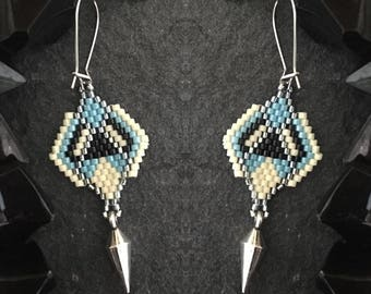 Derezzed -- boho seed bead hand woven earrings with spike charms hypoallergenic clasps -- black, white, silver, blue