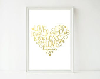 Real Foil Print - Love Words Heart Print, Wedding, Anniversary, Home Decor Wall Art, Gold, Gopper, Silver