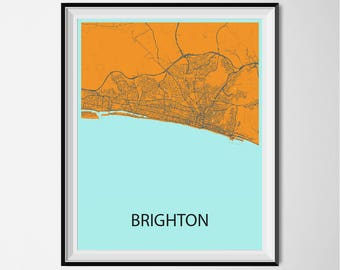 Brighton Map Poster Print - Orange and Blue