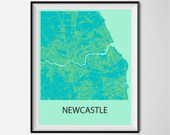 Newcastle Map Poster Print - Blue and Yellow