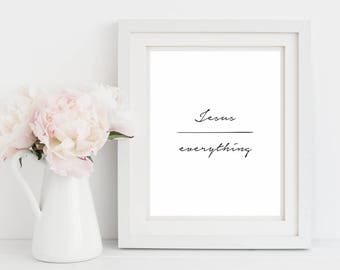 Jesus Over Everything, Minimalist Prints, Christian Wall Art, Wall Art, Digital Prints, Gift For Her, Black and White, Christian Prints