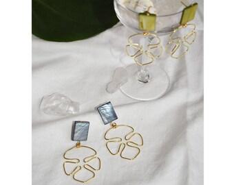 Mother of pearl earrings-Adeline   Monstera Clam Minimalism Handmade   Mother of Pearl