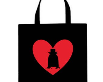 Babadook Valentine's Day Horror Canvas Tote Bag Market Pouch Grocery Reusable Halloween Merch Massacre Black Friday Christmas