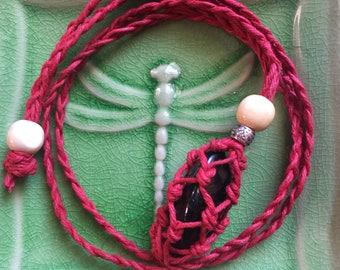 Maroon Hemp Adjustable Interchangeable Necklace